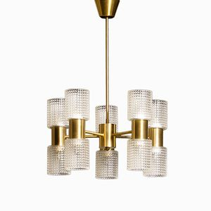 Brass and Glass Chandelier by Carl Fagerlund for Orrefors, 1960s