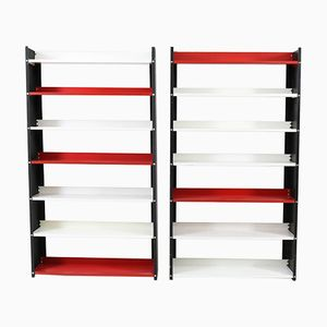Mid-Century Modern Black, White, and Red Metal Standing Bookshelves from Pilastro, 1960s, Set of 2
