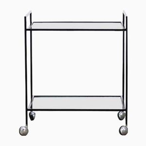 Mid-Century Minimalist Metal and Glass Serving Trolley