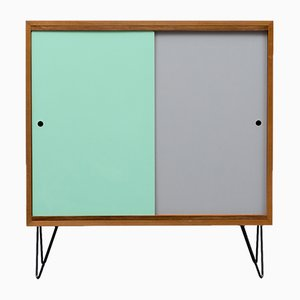 Walnut Highboard with Colored Doors, 1960s
