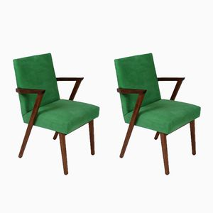 Dutch Armchairs in Green Nubuck Leather from Tijsseling, 1960s, Set of 2