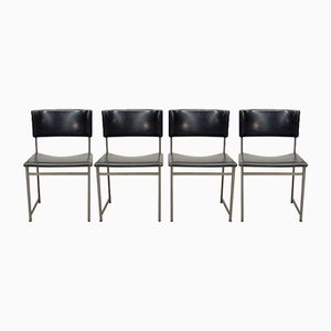 Rosewood and Leatherette Dining Chairs by Cees Braakman for Pastoe, 1960s, Set of 4