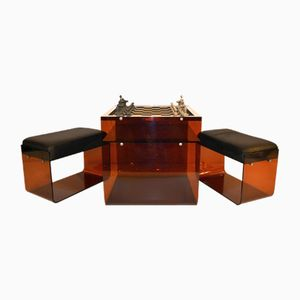 Mid-Century Chess Table in Lucite with Stools
