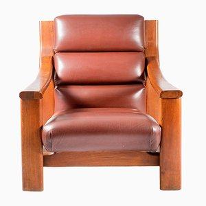 Vintage Wooden Armchair with Leather Cover by Zbyněk Hřivnáč
