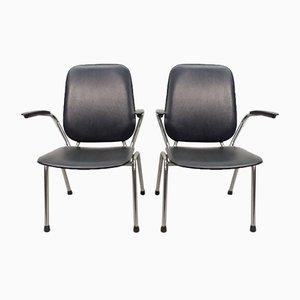 Armlehnstühle aus Chrom und schwarzem Kunstleder mit hoher Rückenlehne von Martin de Wit für Gispen, 1960er, 2er Set