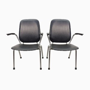 Chrome and Black Leatherette High Back Armchairs by Martin de Wit for Gispen, 1960s, Set of 2