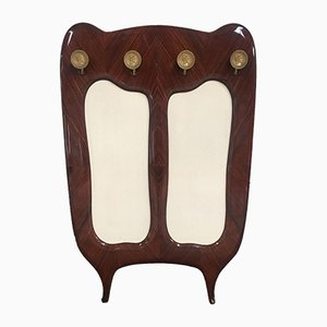 Italian Wall-Mounted Rosewood Coat Rack with Brass Hooks, 1950s