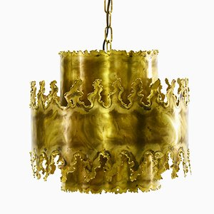 Mid-Century Brutalist 6399 Oxidised Brass Pendant Light by Svend Aage Holm Sørensen for Holm Sørensen & Co