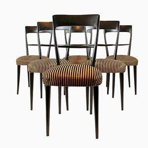 Italienische Stühle mit Kissen aus Rosshaar, 1950er, 6er Set