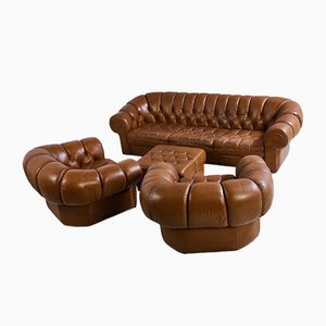 Set da salotto Chesterfield in pelle, anni '70