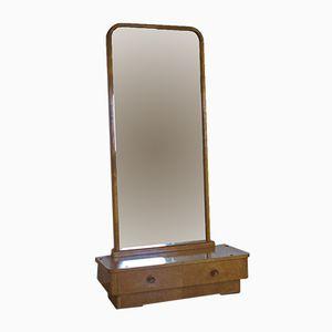 2-Schubladen Lowboard mit Furnier aus Eschenholz und Spiegel, 1950er