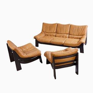 Camel Brown Sofa Set, 1970s