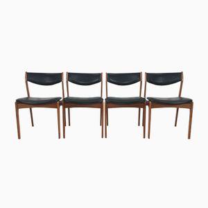 Chaises en Teck & Cuir Noir de Farsö Stolefabrik, Danemark, 1960s, Set de 4