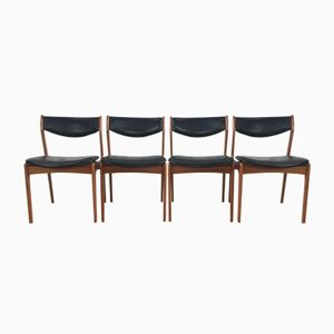 Danish Black Leather Teak Chairs from Farsö Stolefabrik, 1960s, Set of 4