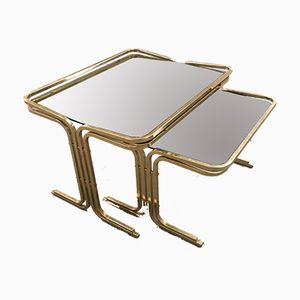 Italian Gilt Metal Nesting Tables with Smoked Glass Tops, 1970s, Set of 2