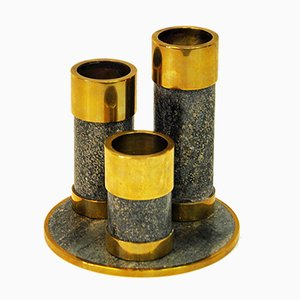 Candleholders in Stone and Brass by Saulao, 1970s, Set of 3