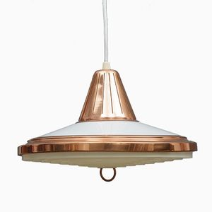 Danish Copper & White Acrylic Pendant Lamp, 1970s