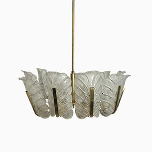 Lampadario in ottone di Carl Fagerlund per Orefors, anni '60