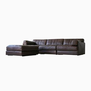 Model DS 76 Leather 3-Seater Sofa & Ottoman Set from de Sede, 1975
