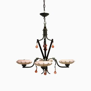 Art Deco Chandelier with Pink Opaline Glass Diffusers, 1930s