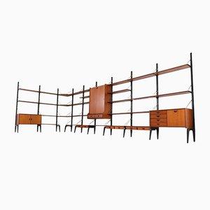 Large Freestanding Modular Wall Unit by Louis Van Teeffelen for WéBé, 1950s