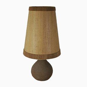 Lampe de Bureau en Céramique en Manganton Brut avec Abat-Jour en Placage par Löffler & Zange pour Krösselbach, Allemagne