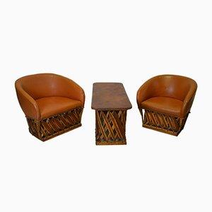 Set mit 2 Armlehnstühlen & Tisch, 1960er