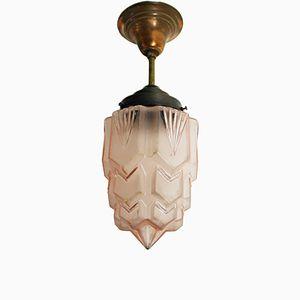 Lampe à Suspension Gratte-Ciel Art Déco Rose, 1930s