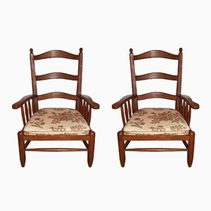 Oak Armchairs, 1940s, Set of 2