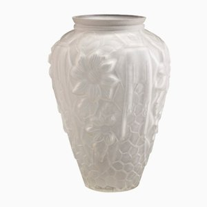 Large French Art Deco Vase with Geometric & Floral Motif from Etaleune, 1930s