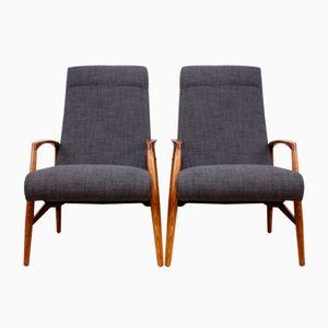 Mid-Century Armlehnstühle mit Gestell aus Ulmenholz, 1960er, 2er Set