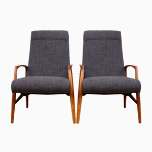 Mid-Century Elm Framed Armchairs, 1960s, Set of 2