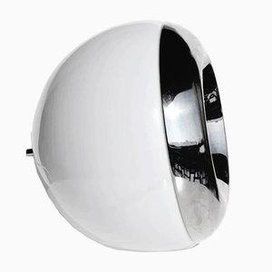 Lampada da tavolo sferica in vetro e placcata in cromo, Italia, anni '60