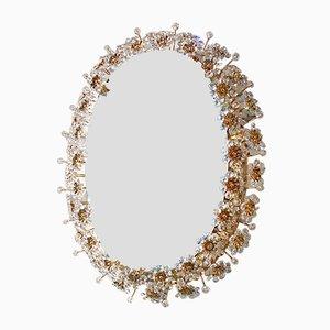 Specchio ovale retroilluminato con fiori in cristallo di Palwa, anni '60