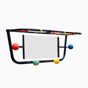French Modernist Coat Rack with Ball Hooks, 1950s