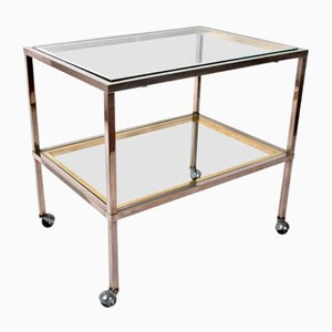 Minimalist Brass & Chrome Bar Service Trolley, 1970s