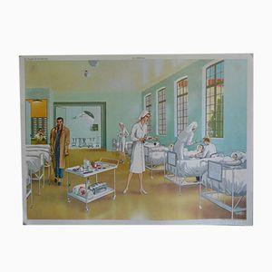 Vintage Schulplakat Set mit Krankenhaus und Restaurant Abbildungen