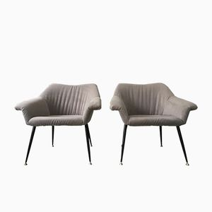 Mid-Century Grey Bucket Lounge Chairs, 1960s, Set of 2