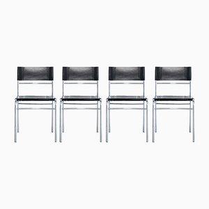 Mid-Century Esszimmerstühle aus Leder von Zanotta, 4er Set
