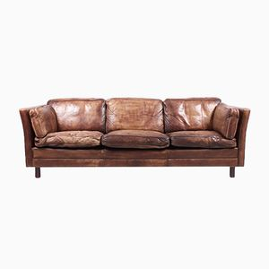 Vintage Danish Brown Leather Sofa, 1980s