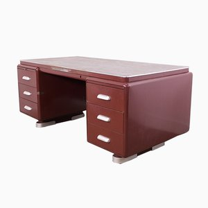 Vintage burgunderfarbener Schreibtisch