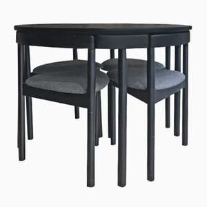 Vintage Black Circular Table & 4 Chairs by ABJ Denmark