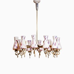 Large Brass and Murano Glass Chandelier, 1940s
