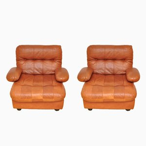 Cognac Leather Armchairs from Dreipunkt, 1970s, Set of 2