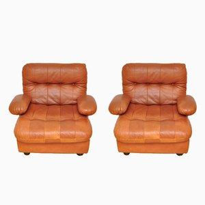 Cognacfarbene Leder Armlehnstühle von Dreipunkt, 1970er, 2er Set