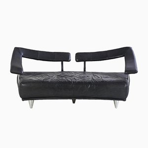 Black Leather 3-Seater Sofa, 1980s