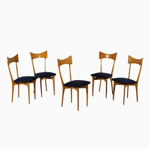 Chairs in Beech and Fabric Upholstery, 1960s, Set of 5