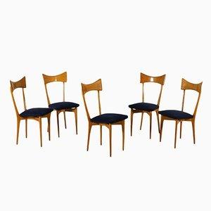 Chaises en Hêtre et Recouvertes de Tissu, 1960s, Set de 5