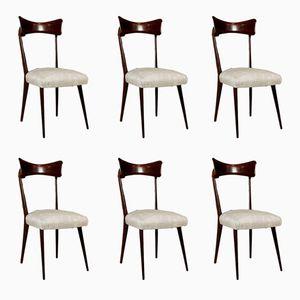 Chaises Vintage en Ebène Lasuré et Tissu, Set de 6