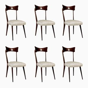 Vintage Chairs in Stained Ebony and Fabric, Set of 6